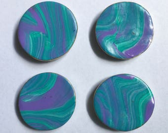 SALE! Teal/Purple Marble Magnet Set - 4 pcs - Ready To Ship!