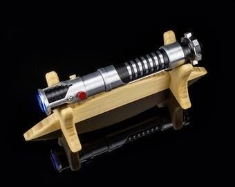 Wood Lightsaber Stand - Single Tier for 1 Hilt - Wooden Light Saber Hilt Holder Display Handmade
