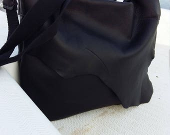 Handmade natural edge Leather Messenger Bag, Bohemian bag, Cross body bag, Black leather bag, Free Shipping