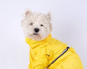 Dog raincoat yellow, dog raincoat, dog rain jacket, custom dog coat.High quality custom dog clothes.Reflective dog rain coverall.No closer.