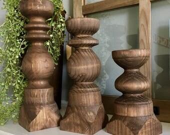 Wooden Candlestick Holder - Set of 3