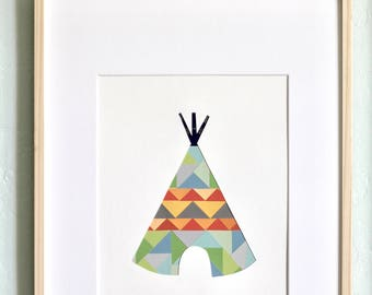 Teepee Collage and Papercut - Modern Nursery Decor and Wall Art