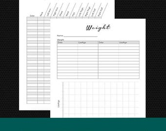 Weight and Body Measurement Tracker PDF Printable