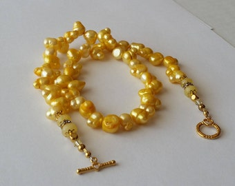 Pearl Necklace, Freshwater, Jonquil, Gold, Crystals