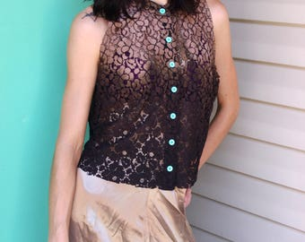 Brown Bleach Dyed Lace Oversized Crop Top