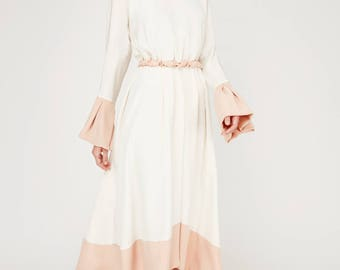 Dress zircon: label Oakley Krafft fashion proposals velvet dress, bridal gown, ball gown, crepe satin. Silk Satin in ecru and Groove