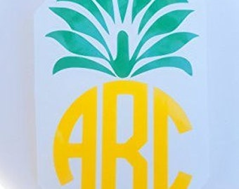 Pineapple Vinyl Decal Sticker Car Decal Yeti Cup Decal Pineapple Monogrammed Decal Personalized Vinyl Decal Tumbler Cup Decal RTIC cup decal