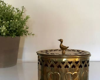 Vintage Brass Gold Oval Shaped Box with Heart Cut outs and Bird Ornament