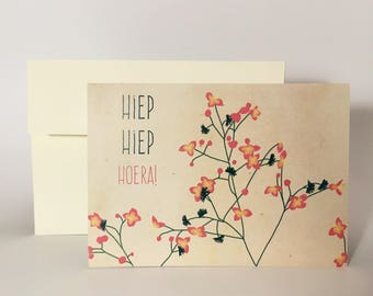 "Greeting card ""Hiep Hiep Whorea Blossom"""