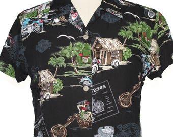Vintage Harley Davidson Womens Crop Top Hawaiian Shirt Size L