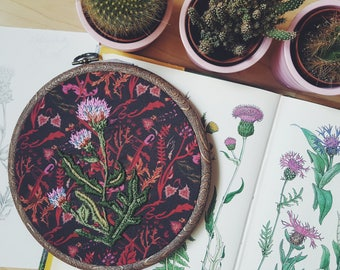 Hand Embroidery Melancholy Thistle Hoop