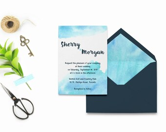 Watercolor Wedding Invitation Template, Light Blue Wedding Invitations, Dusty Blue Wedding Invitations, Printable Wedding Invitation Suite