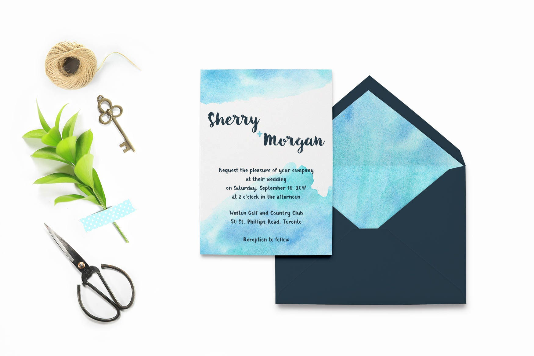 Watercolor Wedding Invitation Template, Light Blue Wedding ...