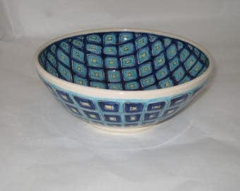 Hand Thrown, Hand Painted Ceramic Bowl