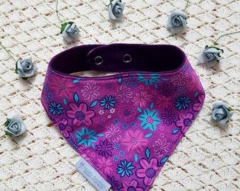 Bandanna Bib | Baby Bib | Toddler Bib | Dribble Bib | Purple | Flower Print | Adjustable |