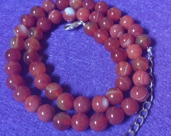 Red Agate Beaded Necklace, Handmade