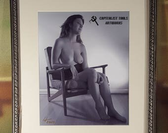 "ORIGINAL ART PHOTO:  Nude Young Woman Seated in a 1950s chair, Black and White 8"" x 10"" image in vintage 1920s frame"