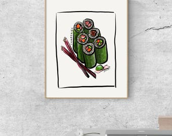 Sushi For Two - Original Art - Digital Download - Printable