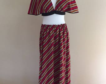 1970s Vintage Cranberry/Yellow/Gray Striped Maxi Skirt With Matching Midriff