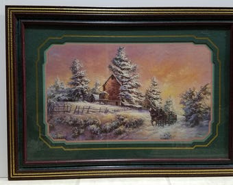 Vintage Sleigh Ride Winter Print by Lee K. Parkinson