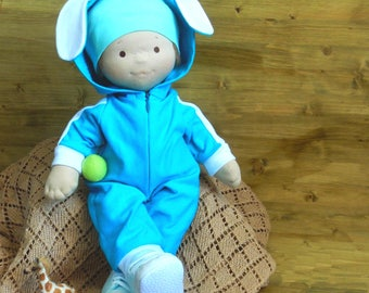 Waldorf Doll Boy Soft Doll For Baby Boy 18 Inch Doll Organic Waldorf Doll in turquoise overall For Baby Doll Role Play Nature Toy Sons Gift
