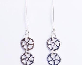 steampunk jewelry silver earrings steam punk clockwork jewelry mechanical watch engineer gifts clock parts watchmaking bachelorette party