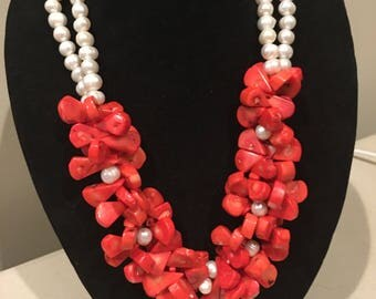 Natural Coral and Pearl statement  Necklace