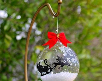 Santa Sleigh and Reindeer ORNAMENT, Clear Christmas Ornament, Santa Sleigh with red nose reindeer