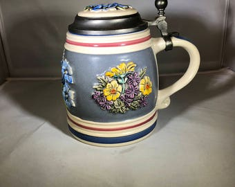 Vintage-Stein-Gerz-Alpine-Flowers-Germany-Hand Painted-Grey-Blue-Yellow-Purple-Drinkware-Barware-Collectibles