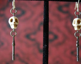 Antique Silver and Howlite Skeleton Key Drop Earrings