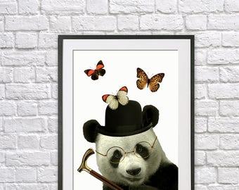 Cute panda, nursery print, animal print, kids bedroom, office art, kitchen print, animal art, giclee print, wall art, wall decor, butterfly