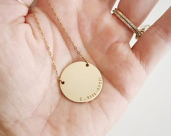 Gold Disc Necklace.  Hand stamped Necklace. Custom Mother Necklace. Initial Necklace. Wedding Gift.