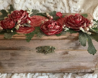 Pretty, Shabby Chic Box, Chalk Paint, Distressed, Hand Painted, Pink, Roses, Pearls, Shabby Chic Decor, Cottage Shabby