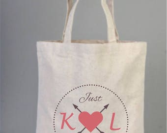 Bridal Bags, Just Married Bag, Natural Wedding Tote, Personalized Bridal Gifts, Canvas Bridal Bag, Cotton, Love Heart, Bridal Shower Bags