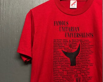 S vintage 80s 1988 Famous Unitarian Universalists t shirt
