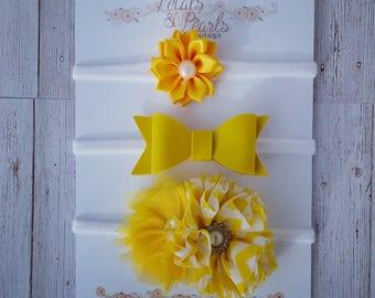 Sunshine yellow nylon headband set, hair bow, chiffon flower, newborn headband, infant headband, yellow flower headband , yellow leather bow