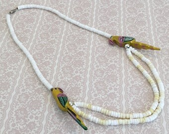 Parrot Puka Beads (White and Yellow) Vintage Necklace