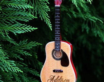 Acoustic Guitar Ornament, Laser engraved personalization on front