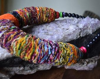 Cotton Cloth Bead Multi-color Necklace
