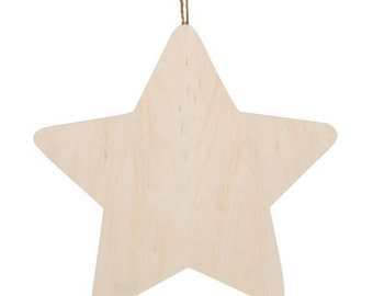 Wood Plaque with Hanger - Star - 9190-9306
