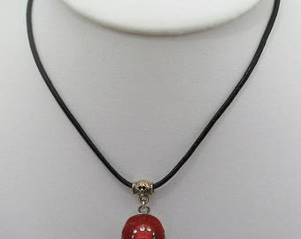 Necklace leather Choker, country red cowboy hat