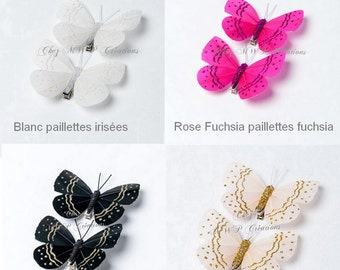 set of 2 Butterfly feather 8cm on clip (many colors available)