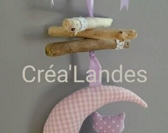 Mobile drift wood Moon and cat nursery decor kids baby birth gift
