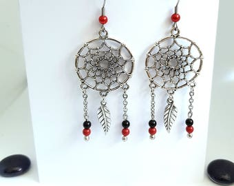 Dream catcher earrings dream with leaf and Swarovski Pearl bead