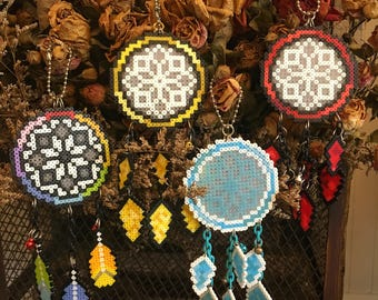 Dream Catcher,Round,Fancy,Red,Yellow,Blue,Fancy,Glow in the dark,Home Decor,Pixel Art,Beads,Accessory,Gift Idea, Handmade