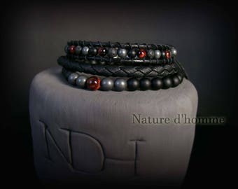 Men jewelry - a trio of bracelets woven leather and natural stones Ref: BN-450