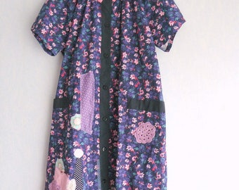 Long dress/coat, Shabby chic, Vintage flowers, Patchwork, crochet, blue, purple and pink flowers