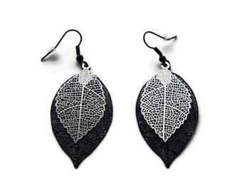 Prints black and Silver/gift filigree leaf earrings