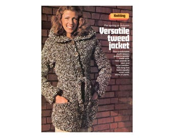 Tweed Jacket Knitting Pattern - Long with large collar, buttoned front, waist tie