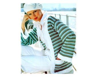 Breezy Jackets Knitting Pattern - Long or half length sleeves, striped or solid with contrasting edges
